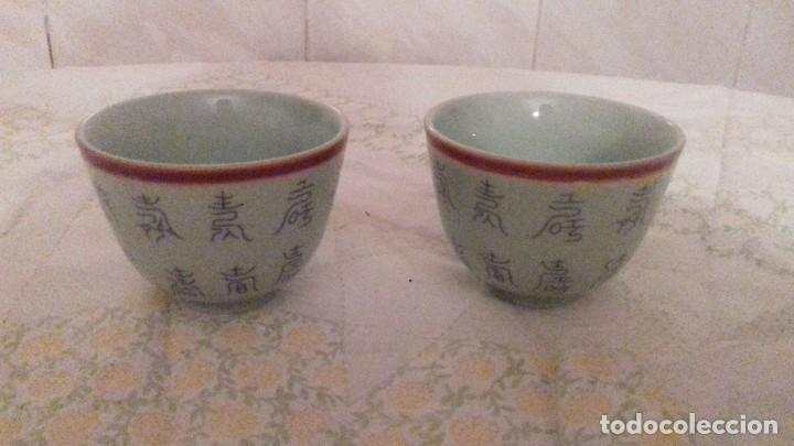 LOTE DE 2 VASITOS DE PORCELANA CHINOS,COLOR VERDE SUAVE, (Vintage - Decoración - Porcelanas y Cerámicas)
