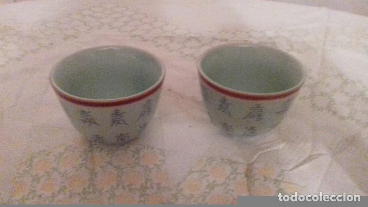 Vintage: Lote de 2 vasitos de porcelana chinos,color verde suave, - Foto 2 - 78283553