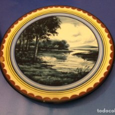 Vintage: PRECIOSA PAREJA DE PLATOS GRANDES MARCIAL MARCO DE MANISES. PAISAJES. AÑOS 40. Lote 78440665