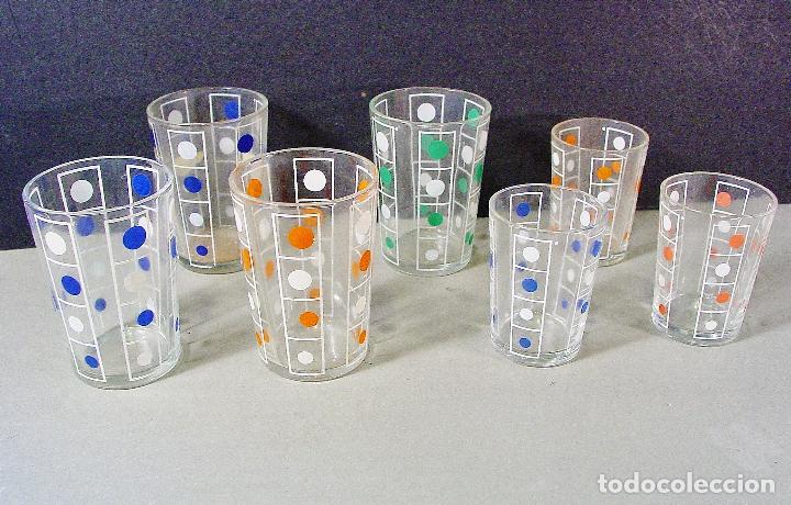 7 vasos en vidrio con lunares de colores serigr comprar for Vasos cristal colores