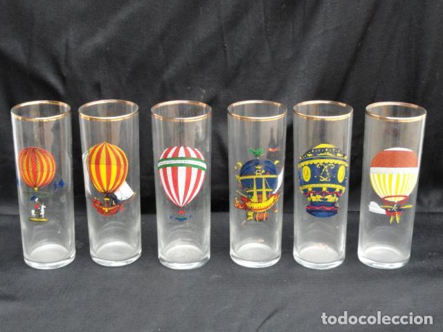 6 Vasos Tubo De Cristal Decorados Con Antiguos Globos Aerostáticos