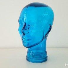 Vintage: CABEZA DE CRISTAL AZUL / BLUE GLASS HEAD. Lote 83620684