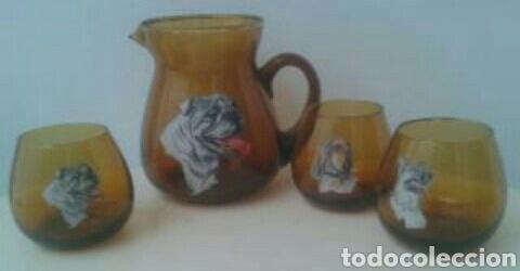 JARRA Y 3 VASOS LICOR CRISTAL VINTAGE (Vintage - Decoración - Cristal y Vidrio)