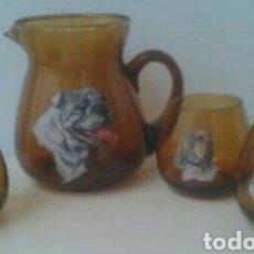 Vintage: JARRA Y 3 VASOS LICOR CRISTAL VINTAGE. Lote 83768887
