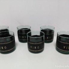 Vintage: JUEGO VASOS VINO VINTAGE. Lote 83933560