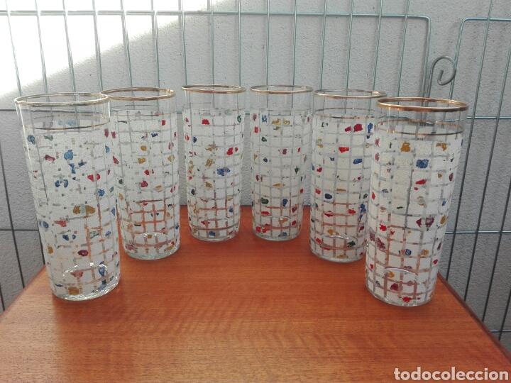 JUEGO 6 VASOS CRISTAL VINTAGE ANTIGUOS (Vintage - Decoración - Cristal y Vidrio)