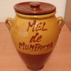 Vintage: PEQUEÑA TINAJA CERÁMICA ESMALTADA - MEL DE MUNTANYA. Lote 84083676