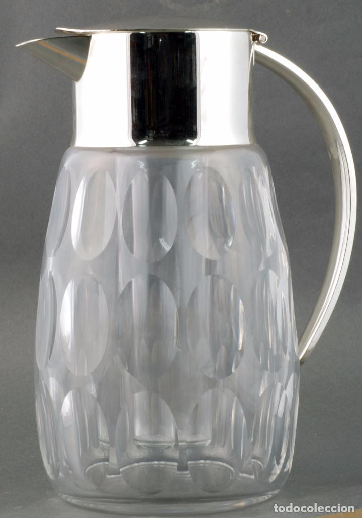 Vintage: Jarra agua cristal tallado metal con enfriador años 70 - Foto 2 - 86334664