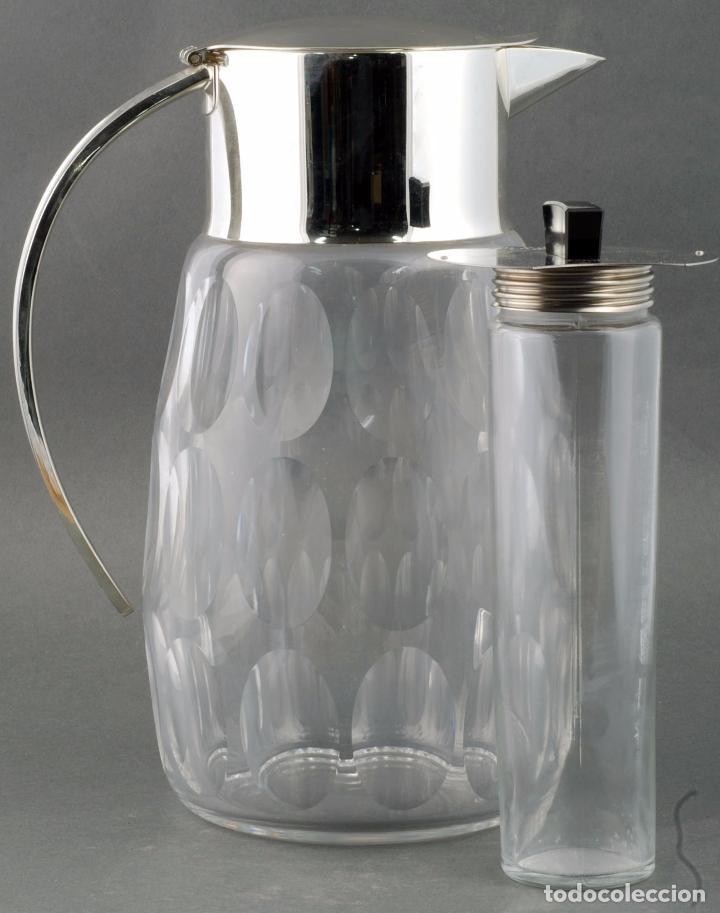 Vintage: Jarra agua cristal tallado metal con enfriador años 70 - Foto 5 - 86334664
