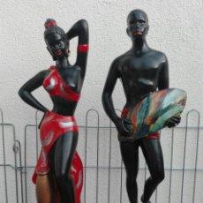 Vintage: PAREJA NATIVOS AFRICANOS ESCAYOLA KITSCH VINTAGE. AÑOS 50-60. Lote 84996780