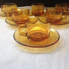 Vintage: 6 SERVICIOS DE CAFÉ DURALEX COLOR AMBAR . Lote 86585404