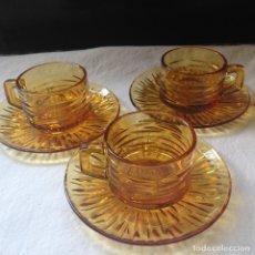 Vintage: 3 SERVICIOS DE CAFÉ DURALEX COLOR AMBAR DECORACIÓN EN RELIEVE. Lote 166032558