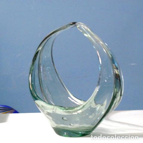 Vintage: Centro cristal soplado no murano hoja cenicero años 60 vintage antiguo - Foto 2 - 87219180