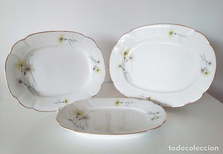 LOTE DE 3 FUENTES DE PORCELANA BIDASOA Nº16 - 41, 37 Y 34 CM (Vintage - Decoración - Porcelanas y Cerámicas)
