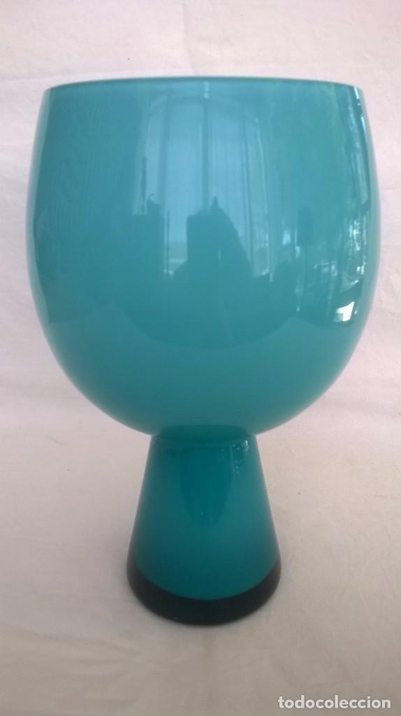 copa jarrn florero cristal turquesa y opalina blanca vintage decoracin jarrones
