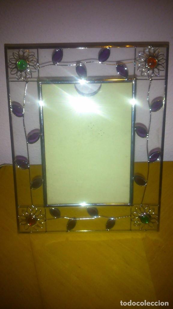 marco portafotos de cristal decorado con flores - Comprar Cristal y ...