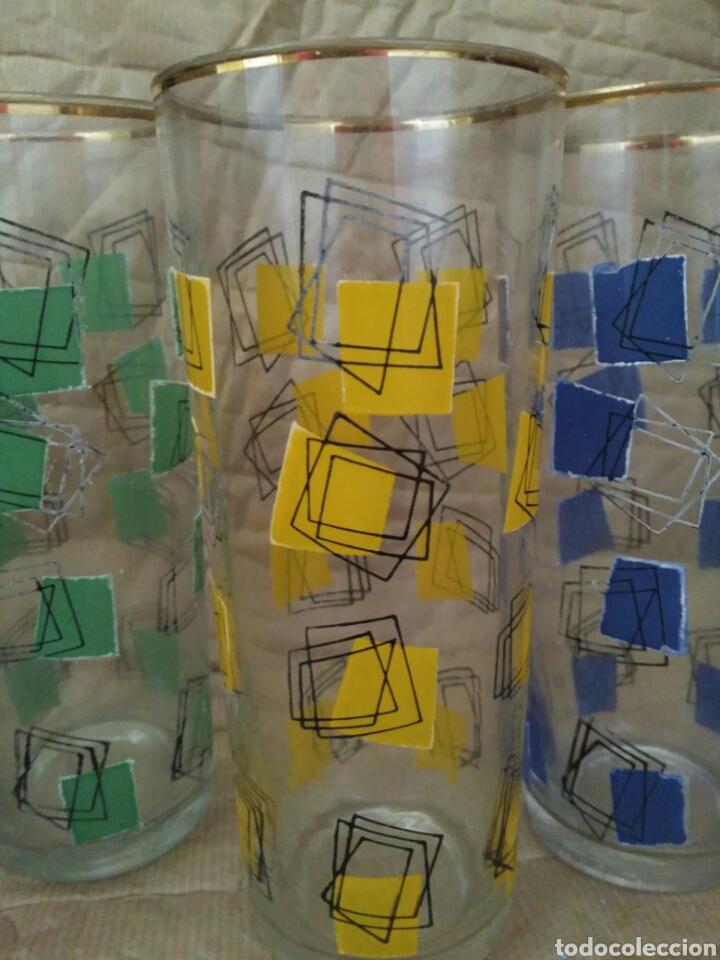 Vintage: Lote 3 vasos vintage colores con baño dorado en el borde - Foto 2 - 90145807