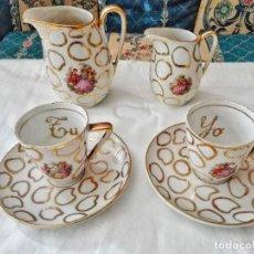 Vintage: JUEGO CAFÉ PORCELANA TU Y YO ANTIGUO. Lote 115567180