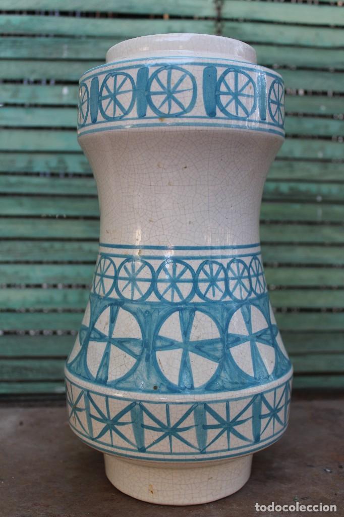 JARRON DE CERAMICA MANISES VALENCIANA CRAQUELADA BENLLOCH EN AZUL Y BLANCO 38 CM IDEAL LAMPARA (Vintage - Decoración - Porcelanas y Cerámicas)