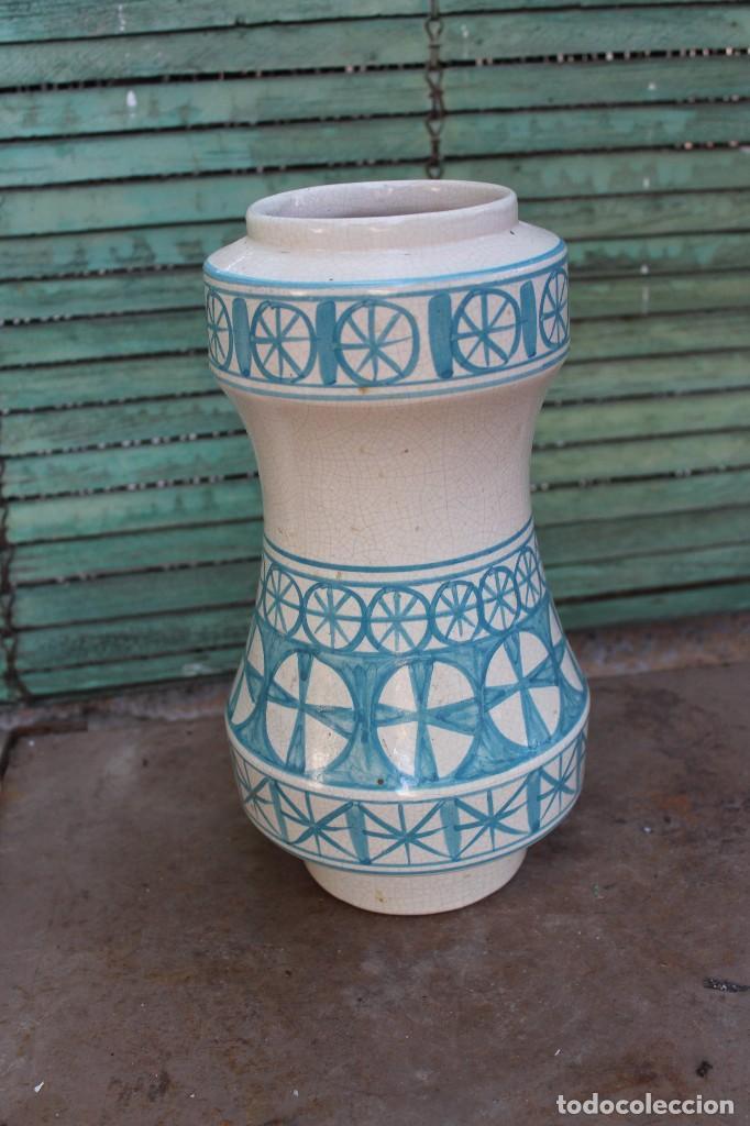 Vintage: JARRON DE CERAMICA MANISES VALENCIANA CRAQUELADA BENLLOCH EN AZUL Y BLANCO 38 CM IDEAL LAMPARA - Foto 2 - 139973074