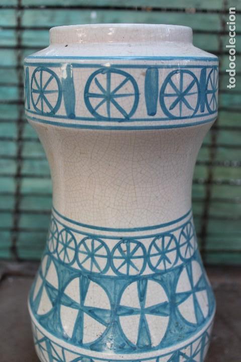 Vintage: JARRON DE CERAMICA MANISES VALENCIANA CRAQUELADA BENLLOCH EN AZUL Y BLANCO 38 CM IDEAL LAMPARA - Foto 3 - 139973074