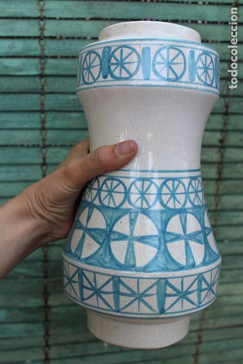 Vintage: JARRON DE CERAMICA MANISES VALENCIANA CRAQUELADA BENLLOCH EN AZUL Y BLANCO 38 CM IDEAL LAMPARA - Foto 6 - 139973074
