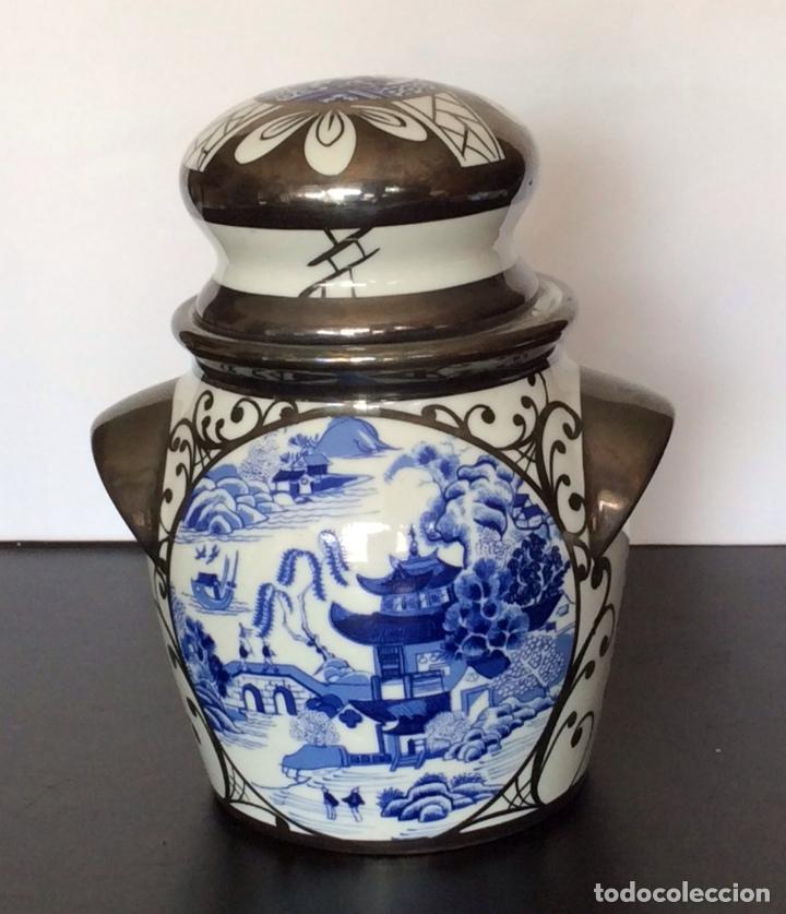 BOHEMIA,JARRÓN CON DECORACIÓN CHINESCA 17 CM ALTURA (Vintage - Decoración - Porcelanas y Cerámicas)