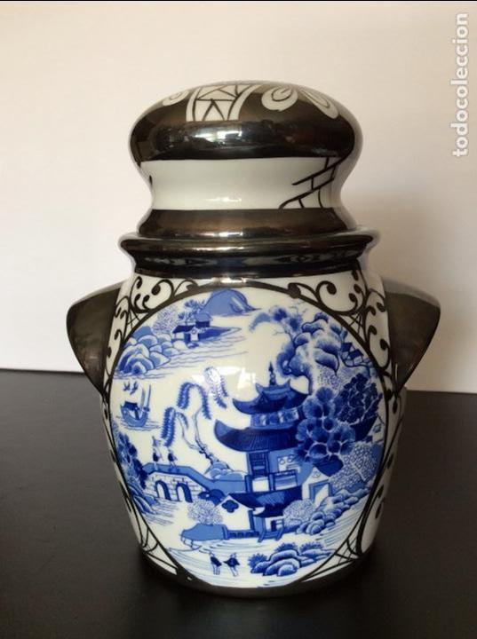 Vintage: BOHEMIA,JARRÓN CON DECORACIÓN CHINESCA 17 CM ALTURA - Foto 4 - 92156335