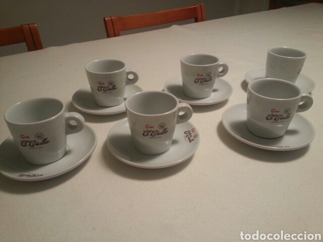 JUEGO DE 6 SERVICIOS DE PORCELANA DE - CAFES EL CRIOLLO - MARCA REG. 1910 - (Vintage - Decoración - Porcelanas y Cerámicas)