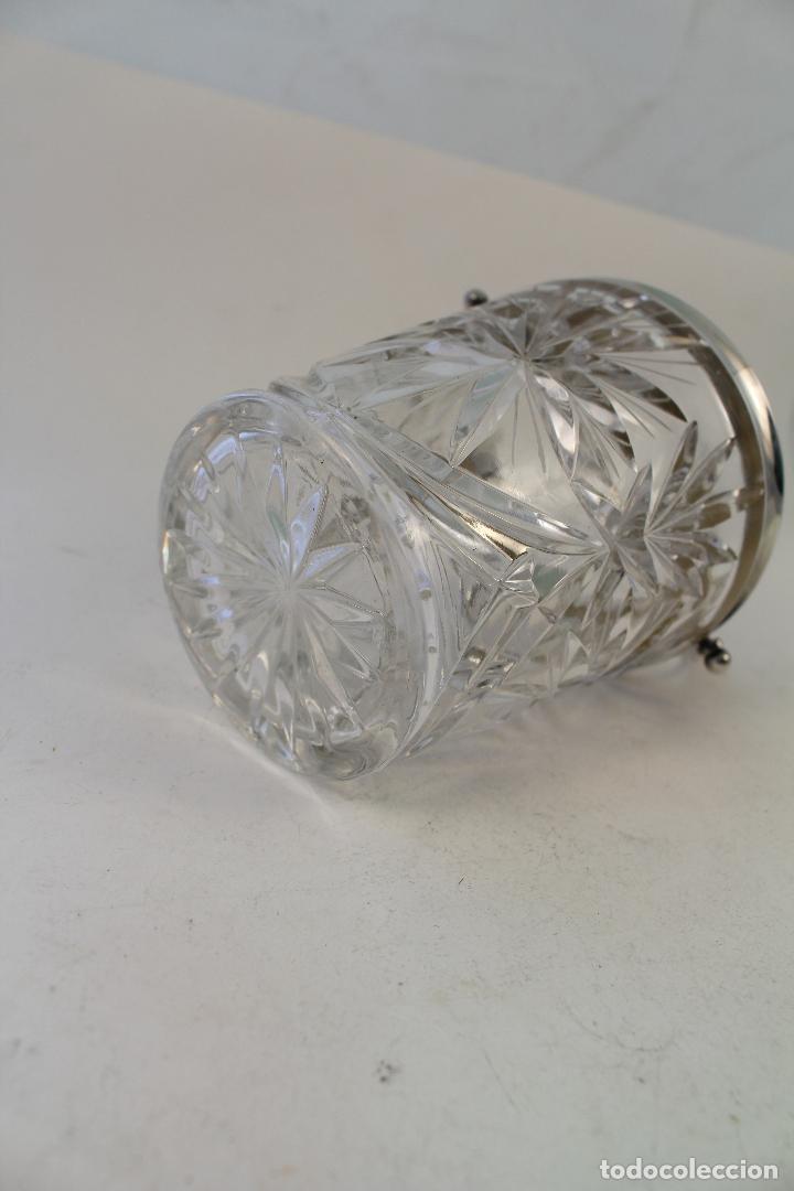 Vintage: cubitera de cristal tallado y metal con plata punzonada - Foto 2 - 96562296