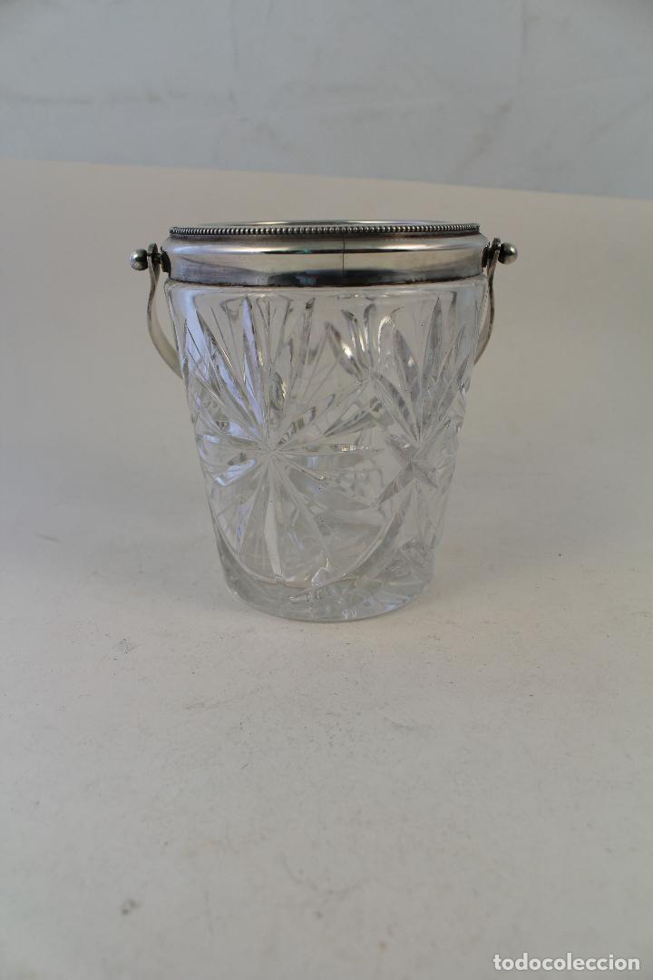 Vintage: cubitera de cristal tallado y metal con plata punzonada - Foto 3 - 96562296