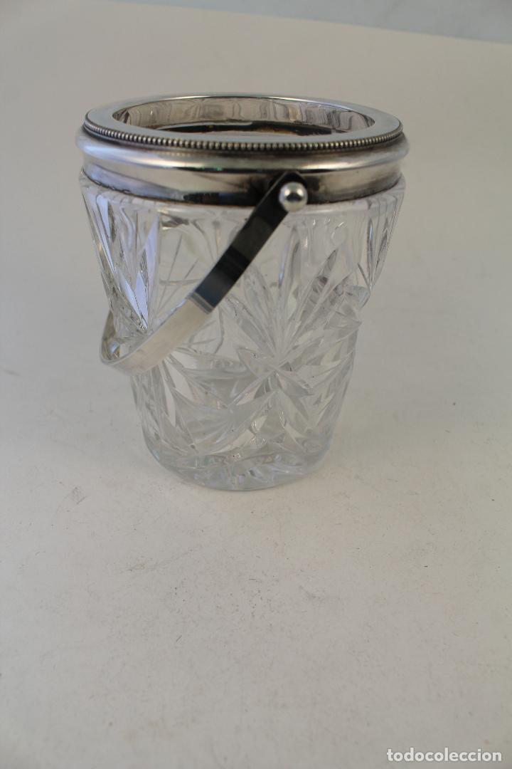 Vintage: cubitera de cristal tallado y metal con plata punzonada - Foto 4 - 96562296