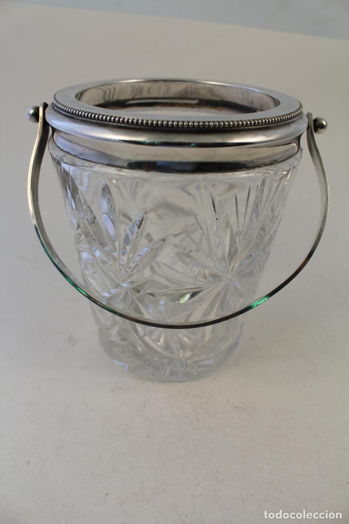 Vintage: cubitera de cristal tallado y metal con plata punzonada - Foto 5 - 96562296