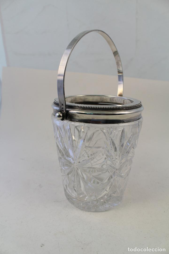 Vintage: cubitera de cristal tallado y metal con plata punzonada - Foto 6 - 96562296