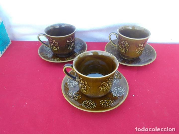 3 TAZAS Y PLATOS CERAMICA (Vintage - Decoración - Porcelanas y Cerámicas)