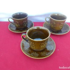 Vintage: 3 TAZAS Y PLATOS CERAMICA. Lote 94469654