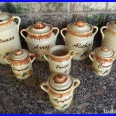 Vintage: JUEGO DE 8 PIEZAS PORCELANA COCINA ACEITUNAS ARROZ AJOS PIMIENTA ALUBIAS COMINO AZAFRAN . Lote 95089315