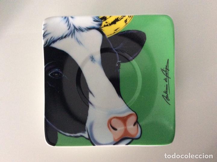 Vintage: Serigrafía Warhol/Vacas sobre juego de café, realizadas por ANTONIO DE FELIPE en su caja original - Foto 6 - 95332575