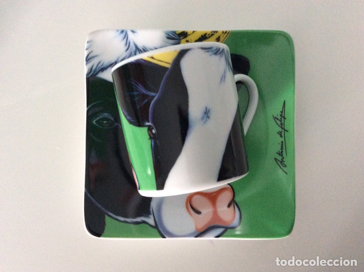 Vintage: Serigrafía Warhol/Vacas sobre juego de café, realizadas por ANTONIO DE FELIPE en su caja original - Foto 10 - 95332575