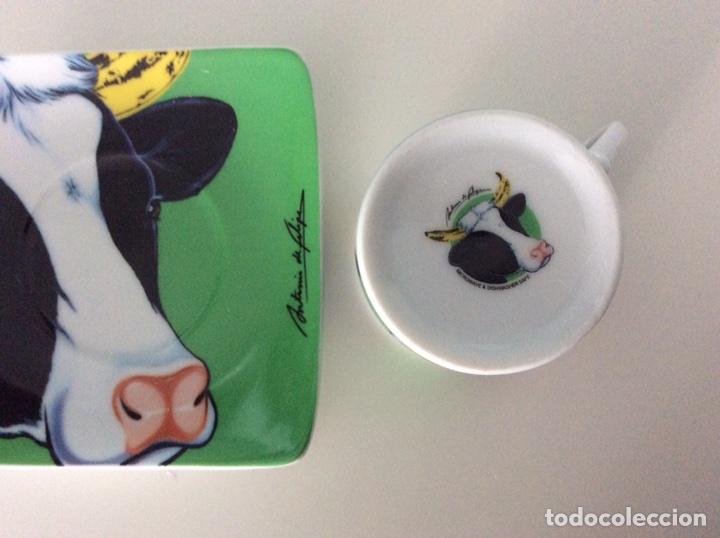 Vintage: Serigrafía Warhol/Vacas sobre juego de café, realizadas por ANTONIO DE FELIPE en su caja original - Foto 11 - 95332575