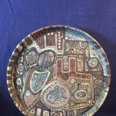 Vintage: GRAN PLATO CENTRO COLGAR CERAMICA GRES OXIDOS RELIEVES HORNO ABSTRACTO NO FIRMA AÑOS 50 60 4X42,5CMS. Lote 95490647