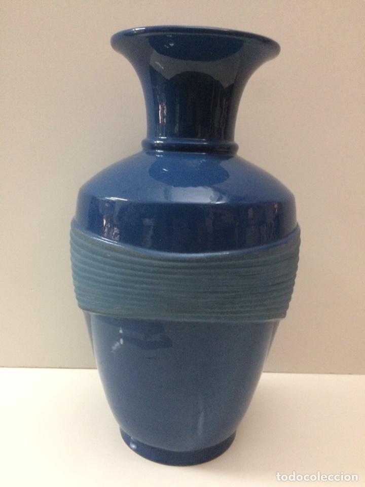 Vintage: Jarrón Azul de ceramica 33x19x13cm de boca - Foto 3 - 95499175