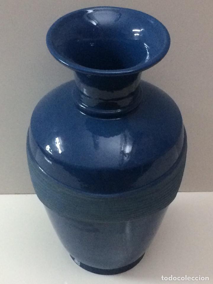 Vintage: Jarrón Azul de ceramica 33x19x13cm de boca - Foto 4 - 95499175
