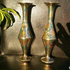 Vintage: PEQUEÑOS JARRONES DE LA INDIA BRONCE ANTIGUOS. Lote 95704984