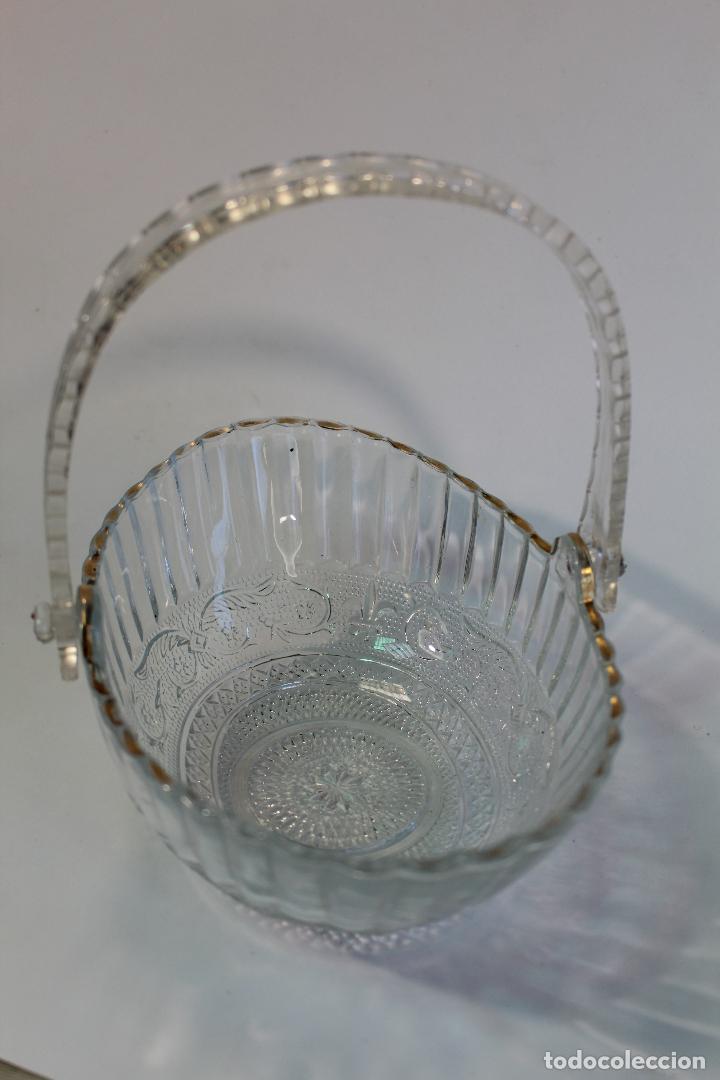CENTRO CESTA FRUTERO EN CRISTAL TALLADO (Vintage - Decoración - Cristal y Vidrio)