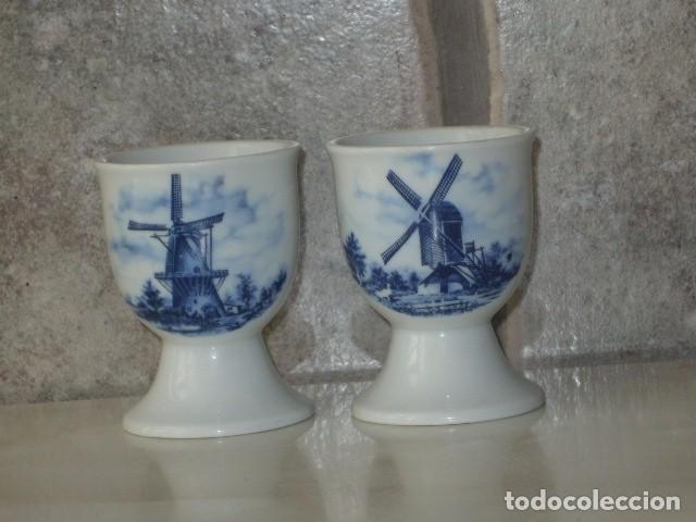 HUEVERA,2 HUEVERAS DE PORCELANA HOLANDESA, ESMALTADA,AÑOS 70. (Vintage - Decoración - Porcelanas y Cerámicas)