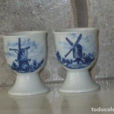 Vintage: HUEVERA,2 HUEVERAS DE PORCELANA HOLANDESA, ESMALTADA,AÑOS 70.. Lote 96324063