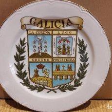 Vintage: PLATO DE PORCELANA CON EL ESCUDO DE GALICIA / MARCA DE FÁBRICA / CANTO DORADO. 25 CM.. Lote 97223235