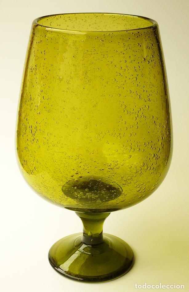 Jarrón O Copa Tamaño Xxl Gigante Cristal De Murano Con Diseño Burbujas Color Verde Vintage Años 70