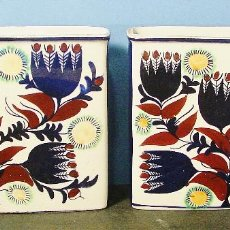 Vintage: PAREJA DE JARRONES EN LOZA ESMALTADA. ROYAL COPENHAGEN. MARCAS EN LA BASE. AÑOS 60. . Lote 98119223